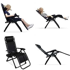 Gravedad cero silla 2unidades, 330lbs capacidad de peso Patio silla de salón, cómodo 35.4x 25,6x 43,3cm al aire libre playa silla con portavasos