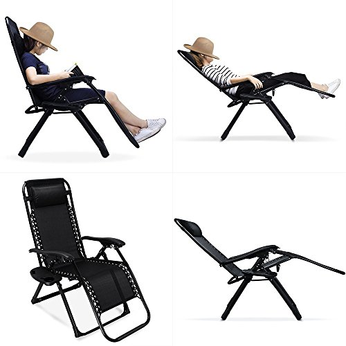 Ezcheer 2 Pack Zero Gravity Chair, 35.4x25.6x43.3 inch Patio Lounge Chair | Heavy Duty Outdoor Beach Chair with Cup Holder 330lbs Weight Capacity
