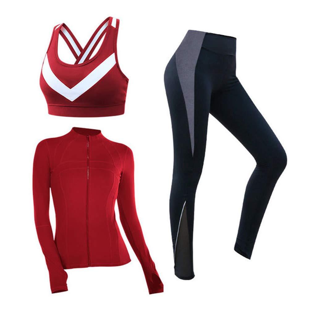 Zyr Abbigliamento da Yoga delle Donne, Pantaloni di Yoga Legging, runningworkout, Asciugatura Rapida, Bassa Pressione, Fitness Palestra Top Sport, Serbatoio Vita Alta (Set di Tre Pezzi),Red,XL