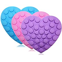30 Rose Flowers Baking Silicone Molds, SENHAI 3 Pack Heart-Shaped Chocolates Cake Candy Ice Cube Craft Decorations Trays - Purple, Blue, Pink