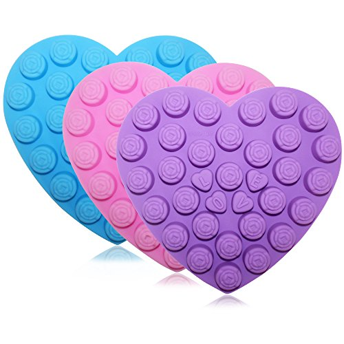 Heart Mini Roses (30 Rose Flowers Baking Silicone Molds, SENHAI 3 Pack Heart-Shaped Chocolates Cake Candy Ice Cube Craft Decorations Trays - Purple, Blue, Pink)