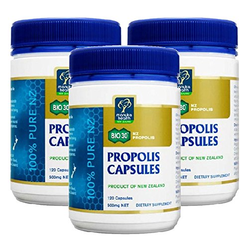Manuka Health Bio30 Propolis 500mg 120 Capsules 100% Pure New Zealand Bee Propolis Immune System Support (Pack of 3) by Manuka Health