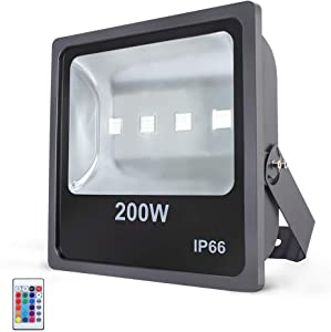 RSN LED 200W RGB LED Flood Lights Outdoor Color Changing LED Security Light with IR Remote Control Dimmable Wall Washer Lights with US 3-Plug Suitable for Garden Landscape Bridge