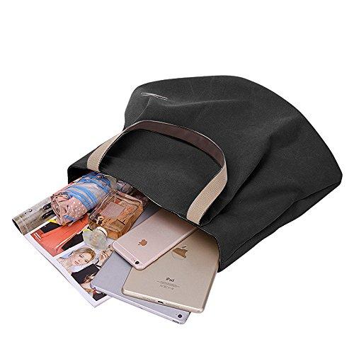 unisexe bandoulière Durable épaule Sac Voyage et Noir Sacs sac toile en portés Grand Gindoly Vintage main Shopping travail école à à Casual Cabaspour xwP0q7xnCf
