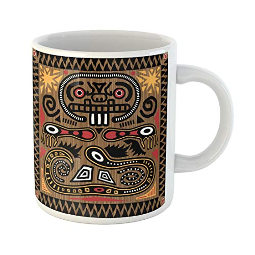 Semtomn Funny Coffee Mug Inca Jpeg Aztec Tribal Pattern in Earth Tones Mayan Aboriginal 11 Oz Ceramic Coffee Mugs Tea Cup Best Gift Or Souvenir