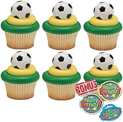 Amazon.com: 3d balón de fútbol Cupcakes y Bonus cumpleaños ...