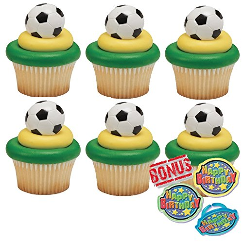 3D Soccer Ball Cupcake Toppers and Bonus Birthday Ring - 25 piece -