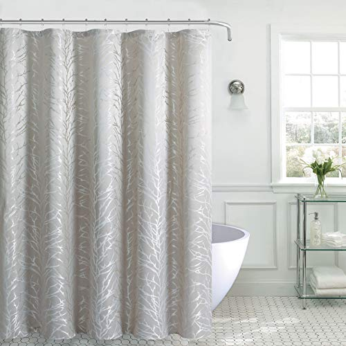 Aniello Tree Shower Curtain Tan with Beige Branch Pattern, Water Proof, Stylish & Decorative Bathroom Curtain for Bathtub, Spa, Hotel Quality, Quick Dry (70