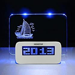 Message Board Desk Digital Alarm Clock With Highlighter,Temperature Display 4 Port USB Hub for Home,Office,White