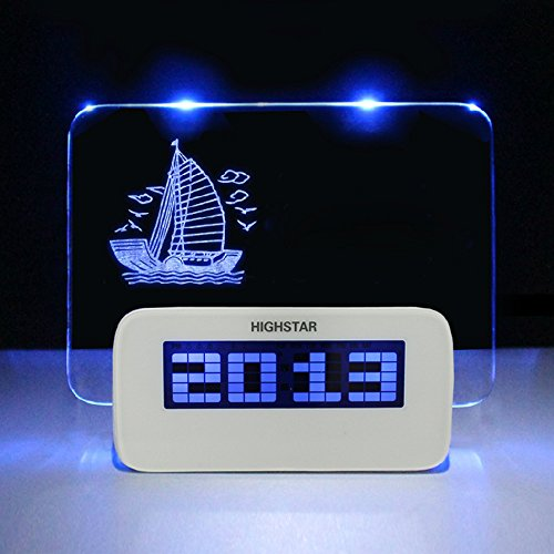Sealive Message Board Desk Digital Alarm Clock With Highlighter,Temperature Display 4 Port USB Hub for Home,Office(White,with Blue Light) (Display Glass Case All Series)