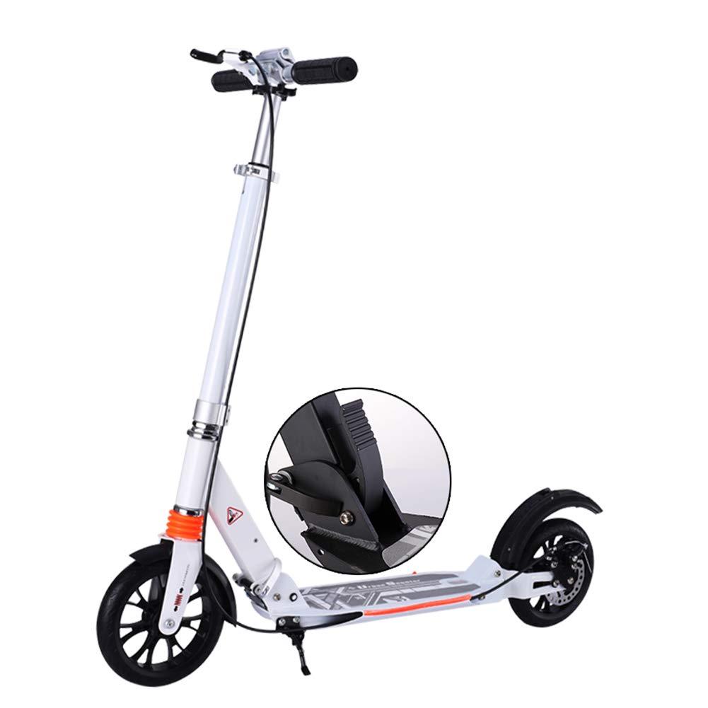 キックスクーター ディスクブレーキが付いている男女兼用の大人の蹴りのスクーター、大きい車輪が付いているFoldable通勤のスクーター、女性/人/十代の若者たち/子供のための誕生日プレゼント、最大150kg、非電気 (色 : 黒) B07MCHQR11 白 白