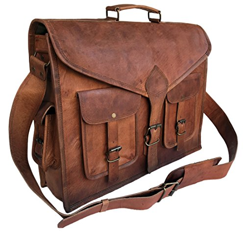 (KPL 18 Inch Rustic Vintage Leather Messenger Bag Laptop Bag Briefcase Satchel Bag)