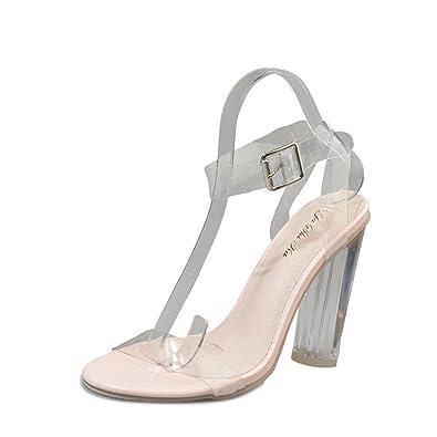 d4fa0da389d80e Beautyjourney Sandales ArgentéEs Femme, Sandales Boheme Femmes Hasp  Transparent Talon éPais Chaussures à Talons Hauts