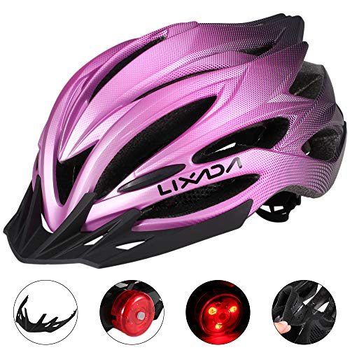 Lixada Cycling Helmet MTB Bike Helmet with Rear Light Sun Visor Breathable Women Men Safety Helmet for Mountain Bicycle…