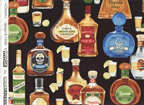 Man Cave Top Shelf Tequila Bottle Fabric ~ Studio RK Fabric ~ Cheers Print Fabric ~ HALF YARD!! ~ Design #15630 ~ Tequila Reposado Print Quilt Fabric 100% Cotton 45