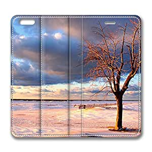 iPhone 6 Plus Case, Fashion Customized Protective PU Leather Flip Case Cover Tree On The Beach for New Apple iPhone 6(5.5 inch) Plus