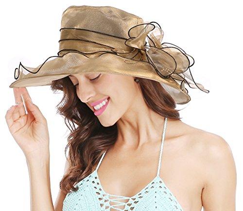 Bellady Women Floral Wide Brim Church Derby Kentucky Dress Cap Tea Party Bridal Wedding Hats,Golden