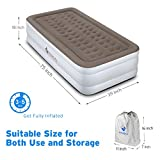 Etekcity Upgraded Air Mattress Blow Up Elevated Raised Guest Bed Inflatable Airbed with Built-in Electric Pump (18 Twin Size)