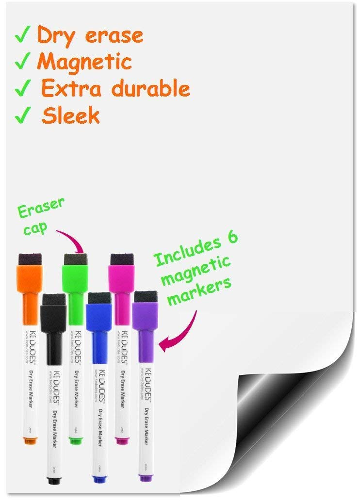 kedudes Magnetic Dry Erase Whiteboard Sheet 17 x 11 with a Set of 6 Markers