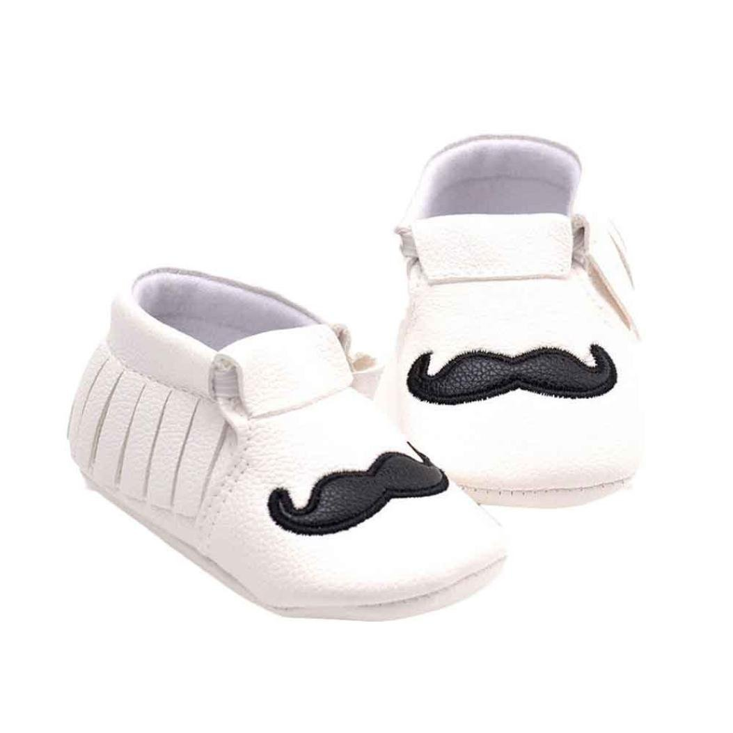 Voberry Baby Boys Girls Soft Soled Tassel Mustache Cute Crib Shoes PU Moccasins 0~4 Month, Black