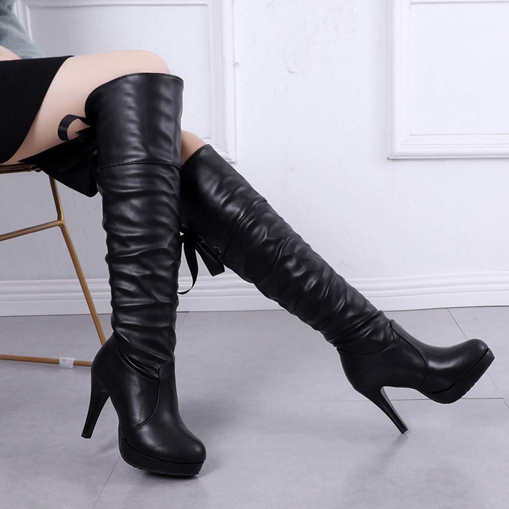 49918788 Botas Mujeres Caballero Zapatos Redondos Toe de Encaje Fino talón de Cuero  Largo Tubo Ankle Botas Plataforma Botines tacón Altas Casual Zapatos de  Señora ...