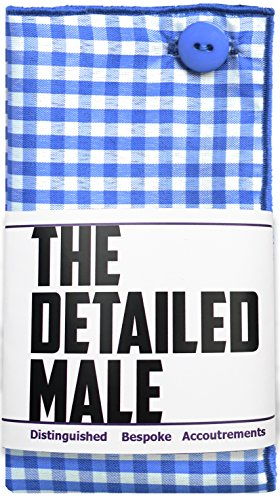 Blue & White Gingham Check w/ Blue Button Mens Pocket Square by The Detailed Male by The Detailed Male (Image #3)