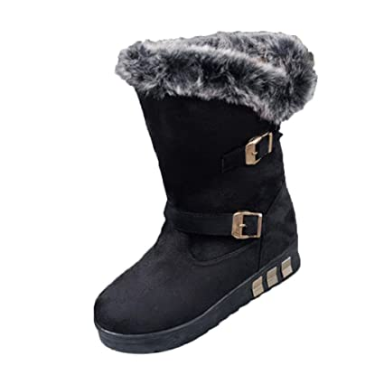 3dc93c23c5 Creazy Women Boots Slip-On Soft Snow Boots Round Toe Flat Winter Fur Ankle  Boots