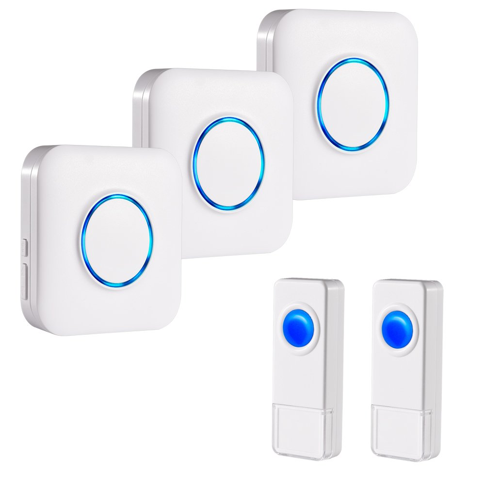 BITIWEND Wireless Doorbell Kit,Operating at 1000 Feet with 52 Chimes,4 Level Volume, 3 Receivers & 2 Weatherproof Push Buttons with Sound and LED Flash,Low Power Consumption
