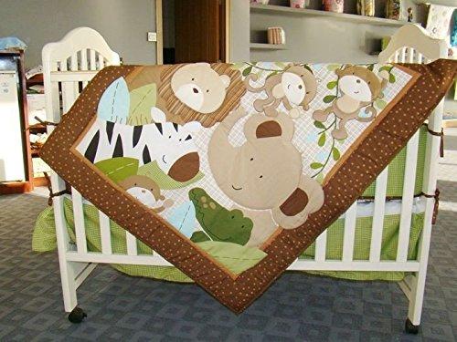 NAUGHTYBOSS Boy Baby Bedding Set Cotton 3D Embroidery Monkeys Frolic Quilt Bumper Bedskirt Fitted Blanket Diaper Bag 9 Pieces Green