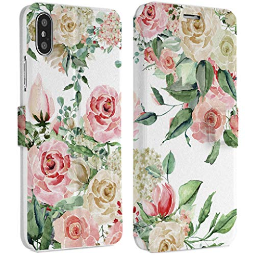 Wonder Wild Pastel Rose iPhone Wallet Case X/Xs Xs Max Xr 7/8 Plus 6/6s Plus Card Holder Accessories Smart Flip Hard Design Protection Cover Flowers Bouquet Sweet Tender Gentle Girly Gift Perfect