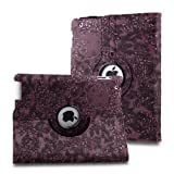 L-Asher Auto Sleep/Wake Function 360 Degree Rotating Smart Multi-Position Stand Case Cover for 9.7 inch iPad 4th Generation with Retina Display & iPad 3 & iPad 2 with a Stylus as a Gift--Floral Pattern,Purple