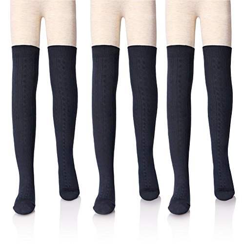 Knee High Ribbed Stockings - LANLEO 3 Pairs Girls' School Uniform Cable Knit Over Knee High Tube Warm Cotton Socks(Navy L)