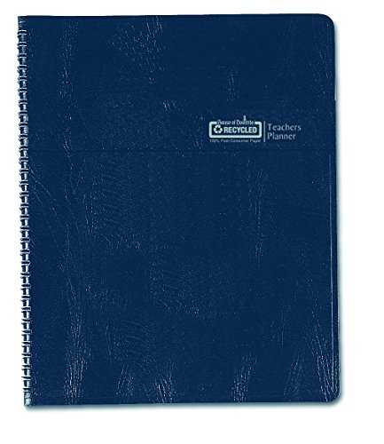 House of Doolittle Teachers Planner with Seating Chart, 7 Periods, and Records, 8.5 X 11 Inches Blue Leatherette - School Plan