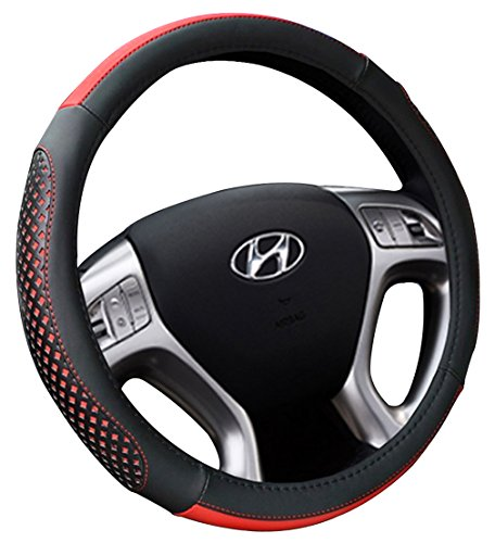 Best-Shops Steering Wheel Covers Leather Soft Anti Slip 15 inch Nice tight fit Black (Red)
