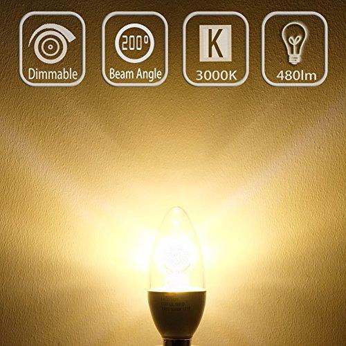 Candelabro con luces y # xFF0 C; 40watt equivalente 5 W LED y # xFF0 C; Intensidad regulable E12 LED y # xFF0 C; 3000 K blanco suave y cálida y ...