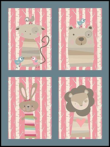 Kinderzimmer Bilder Set Tiere im Wald (DIN A4)