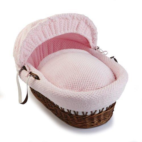 Clair de Lune Honeycomb Dark Wicker Moses Basket (Pink) by Clair de Lune