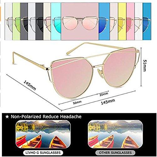 Metálica con ANLW Gafas UV400 Gato De Mujer De Sol De con para Planos Lentes Gafas Montura Sol Reflejo Oculares TxwT1Zn