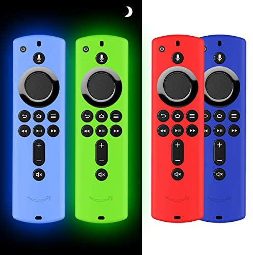 4PCS Case for Firetv Remote,Firestick Remote Cover, Silicone Cover Case for TV Firestick 4K / TV second Gen(third Gen) Remote Control -Light Weight/Anti Slip/Shock Proof- Red, Blue,Glow Green and Glow Blue