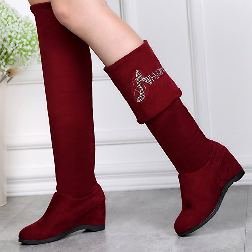 863 Dance Slip Womens Changeable Modern Wedge ABBY Lint Square Products Leisure Breathable Knee Abby Red Heighten Boot On Inner Over 8npBEBT