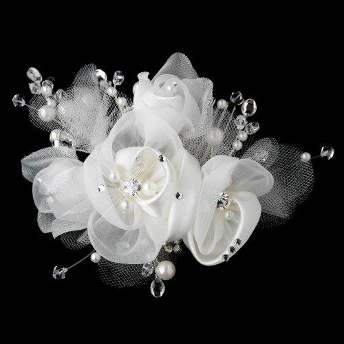 - Laura Diamond White Pearl, Swarovski Crystal Bead, Rhinestone & Chiffon Satin Mesh Sheer Organza Fabric Flower Hair Comb Wedding Bridal Special Occasion