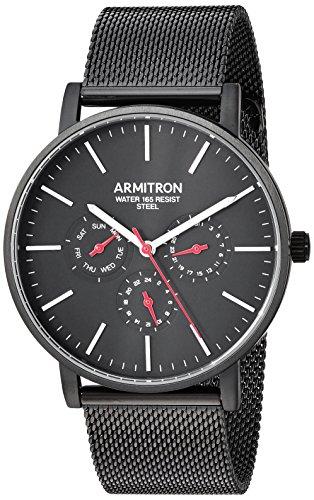Watch Dial Multifunction (Armitron Men's 20/5300BKTI Multi-Function Dial Black Mesh Bracelet Watch)