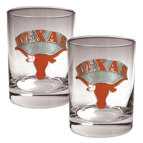 NCAA Texas Longhorns Two Piece Rocks Glass Set