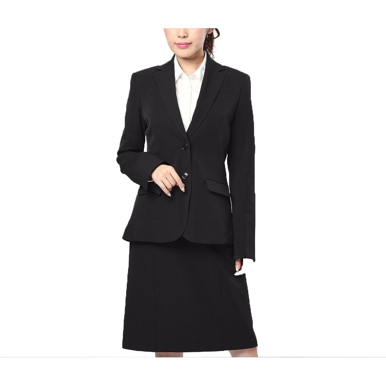 (ニッセン) nissen スーツ 大きいサイズ 上下 セット ジャケット + スカート ストレッチ レディース 黒 B076D97345 42号