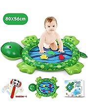 Lenbest Aufblasbare Wassermatte Baby, 80 * 56CM Meeresschildkröte Form Bauch Zeit Wasser-Spielmatte für Kinder und Kleinkinder, Stimulation Wachstum Ihres Babys, mit Aufblasbarem Hammer