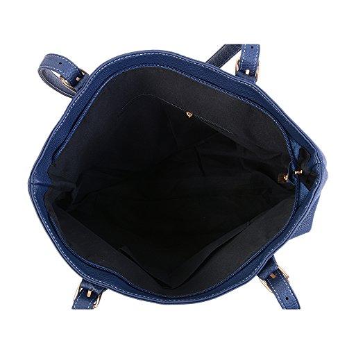 Femme Bleu Unie 31 42 Capacité PU Multifonctionnel Cuir 10CM Main Sac de Sfit Fonce Couleur à en Grande dqgwaa