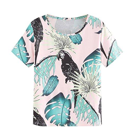 Pervobs T-Shirt Clearance! Womens Short Sleeve Fashion Blouse Fashion Tropical Parrot Brid Print Tee Tops (L, Green) (Parrot Print T-shirt)