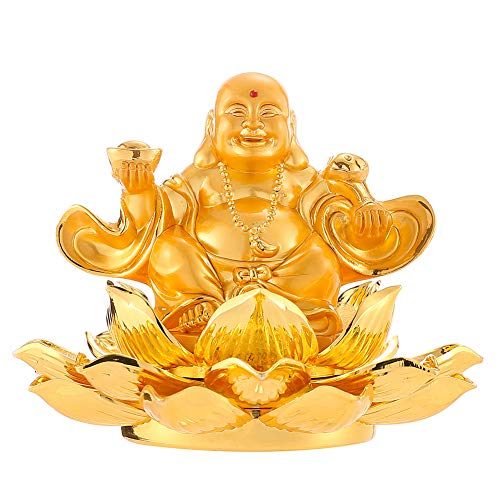 - Feng Shui Golden Eight Treasure Lotus Laughing Buddha Aromatherapy Car Ornaments Maitreya Home Office Decoration Bless Safety and Wealth for Gift