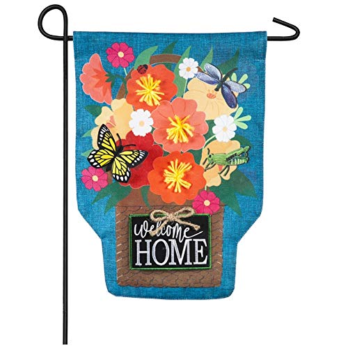 Garden Welcome Home Flag - Evergreen Garden Friends Welcome Burlap Garden Flag