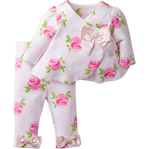 David Tutera Apparel Girls' Assymetrical Jacket and Legging Set, Rose, 12 Months